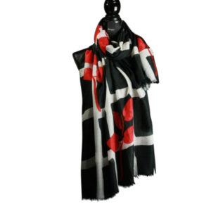 Stola Schal leicht fein schwarz weiß rot zum kleinen schwarzen