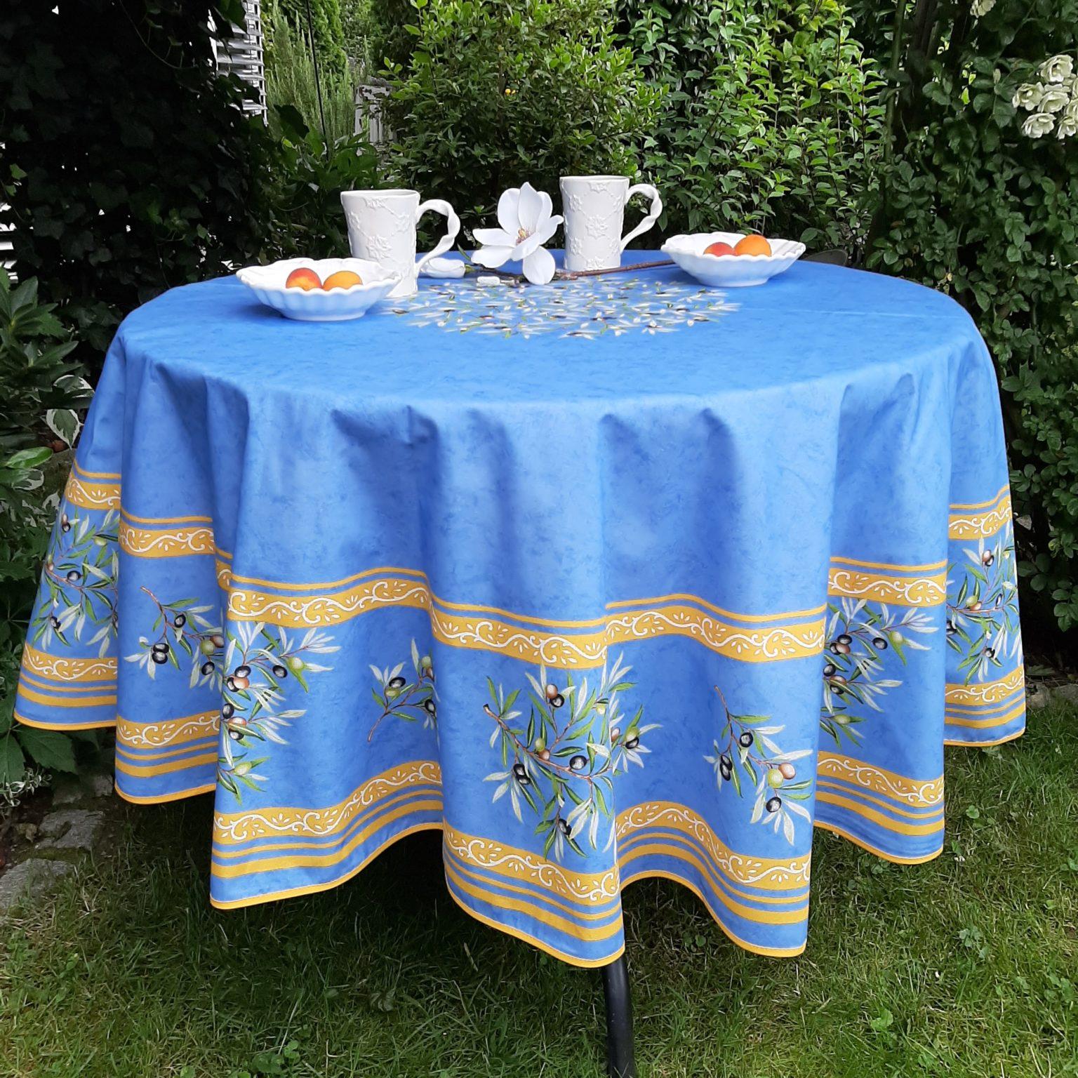 Tischdecke Provence 160 cm rund schwarz weiß Frankreich pflegeleicht bügelfrei