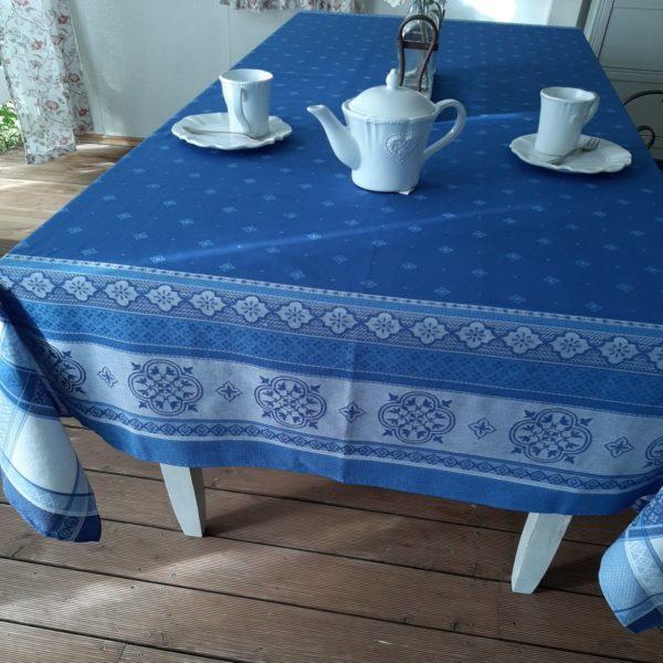 Tischdecke Jacquard Baumwolle 160x250 cm ecru blau Frankreich mit Teflonschutz